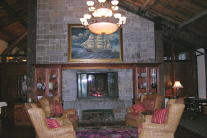 Fireplace in lobby of Samoset Resort in Rockport, Maine