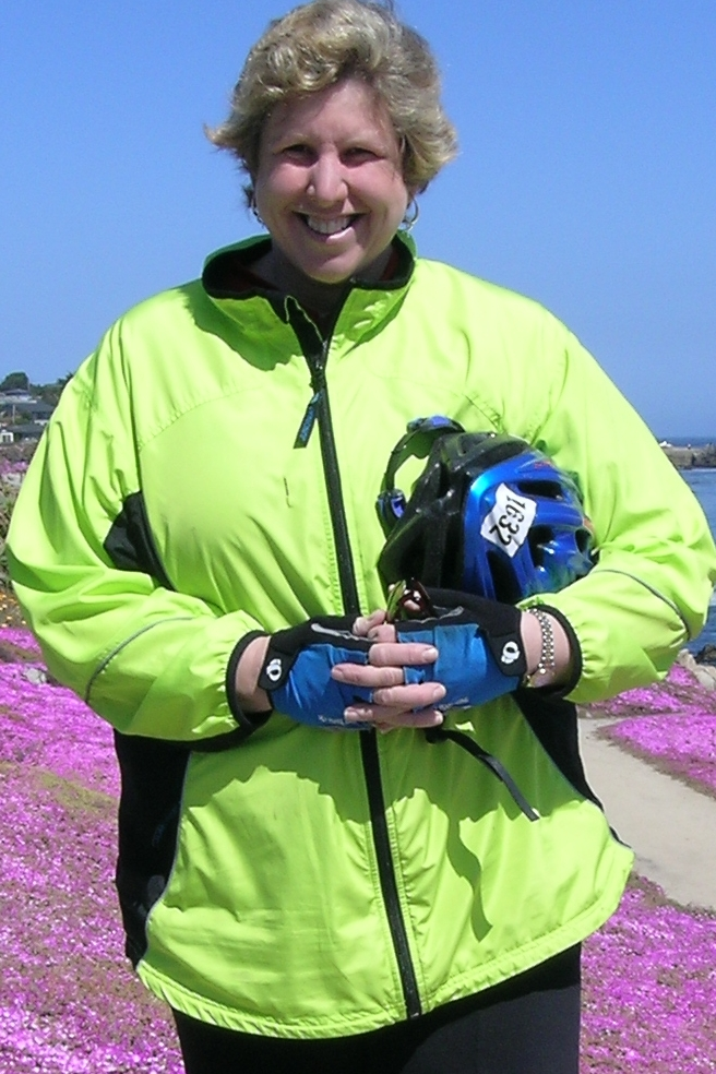 """Here I am near the beautiful purple \""""ice plants\' along the coast in Monterey."""