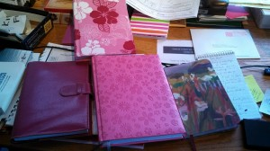 I have a slight obsession with blank journal books, pink ones in particular. I have many of them. In my fantasy life, I would write in them every day.